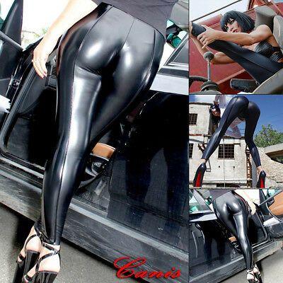 Women/'s Ladies Wet Look PU Leather High Waist Leggings Stretch Pant PVC Trouser