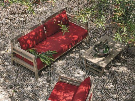 Divano da giardino in teak a 3 posti COSTES | Divano da giardino - Ethimo