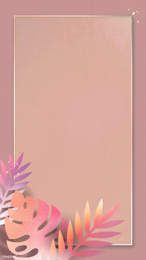 Leafy rectangle golden frame mobile phone wallpaper   premium image by rawpixel.com / Adj