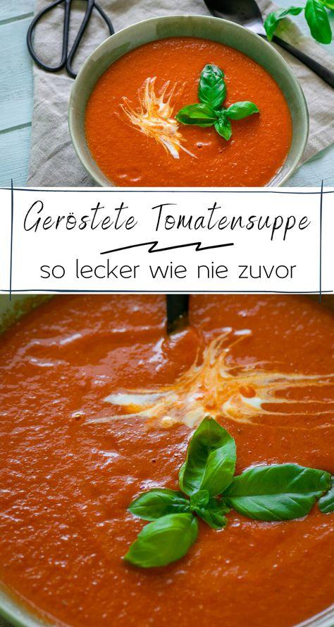 Denn diese Tomatensuppe ist so unglaublich lecker geworden und das Rezept ist so wunderbar einfach. Jeder, der günstig an einen Haufen reife Tomaten gelangt, sollte die Suppe am besten selbst gleich ausprobieren! Dadurch, dass die Tomaten zuvor im Ofen mit Knoblauch und Kräutern geröstet werden, ist die Suppe ganz besonders aromatisch! #sommer #vegetarisch #suppe