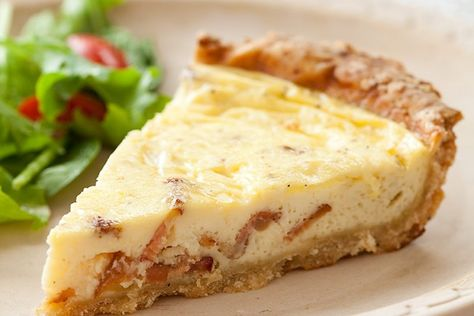 By Using Buttermilk And Whole Milk Instead Of Cream We Kept The Bacon And Got A Healthier But Just Quiche Lorraine Quiche Lorraine Recipe Buttermilk Recipes