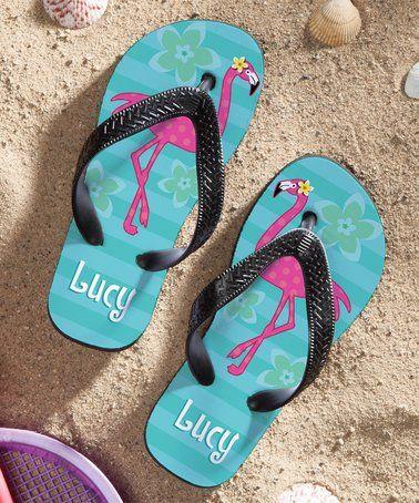 Flamingo Theme Flip Flops for Kids