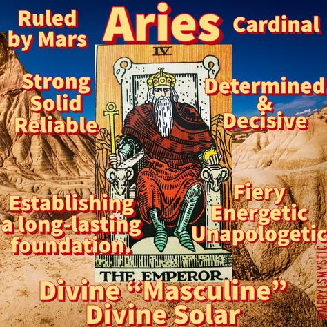 Aries is represented by The Emperor in the Tarot. . If you notice there are even ram heads on their throne. . They represent the Divine Masculine and Solar (Sun) Energy. . Being male is NOT a requirement to tap into your divine solar energy. . Innately strong & good at setting protective boundaries. . They offer their strength to us all. . #theemperor #aries #mars #cardinal #divinesolar #tarot #tarotcard #divinefeminine #spirituality #universe #strong #solid #boundaries #fire #energy