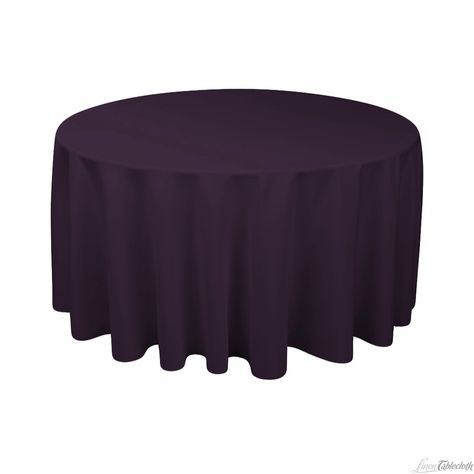 120 in. Round Polyester Tablecloth Eggplant at LinenTablecloth.com