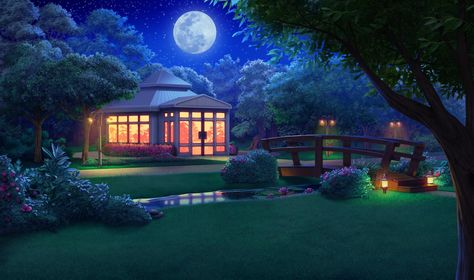 Ext Campus Garden Night Episode Hidden Scenery Background Anime Backgrounds Wallpapers Anime Places