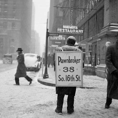 1930s Winter Street Scene of Man Wearing Pawnbroker Sandwich Board ...