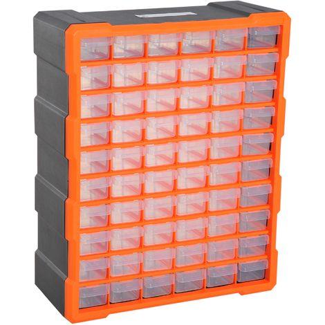 Casier De Rangement Module De Rangement 38l X 16l X 48h Cm 60 Tiroirs Transparents Polypropylene Orange Transparent Noir Avec Images Casier Rangement Rangement Tiroir