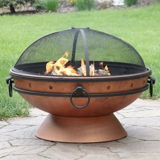 Sunnydaze Royal Cauldron Copper Fire Pit With Handles And Spark Screen 30 Inch Outdoor Fire Pit Designs Wood Burning Fire Pit Fire Pit