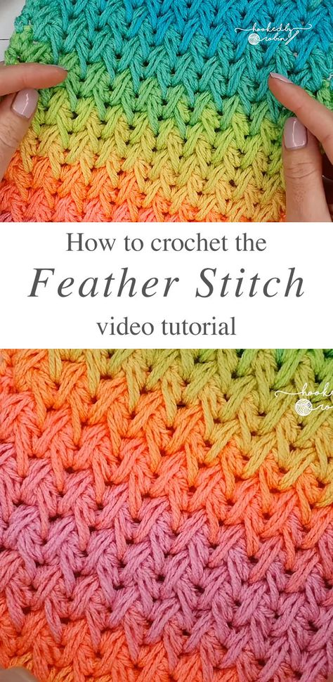 Crochet Feather Stitch - Learn how to make the stunning crochet feather stitch by watching this video tutorial! This stitch has a beautiful texture and is the same on both sides!