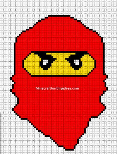 Red Ninjago Perler Design Bügelperlen Vorlagen