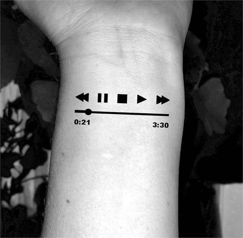 Music player tattoo This set includes 2 temporary tattoos This tattoo measures just under 2 inches These would look really good on your wrist or neck, or anywhere you decide to add them. ...DIRECTIONS FOR USE... . remove the protective clear transparent cover . place the