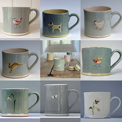Jane Hogben Pottery - Tea, Toast, and Tapas Ceramic Mugs, Ceramic Pottery, Diy Tableware, Clay Art Projects, Cafetiere, Clay Design, Stone Crafts, Pottery Designs, My Cup Of Tea