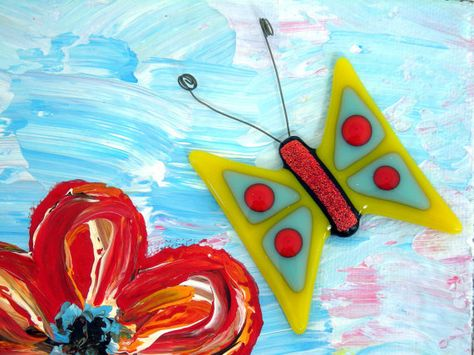 3D Mixed Media Painting / Expressionism Art / Impasto / Original Acrylic Painting with Fused Glass Butterfly Magnet - Happy Flowers no. 4 via Etsy