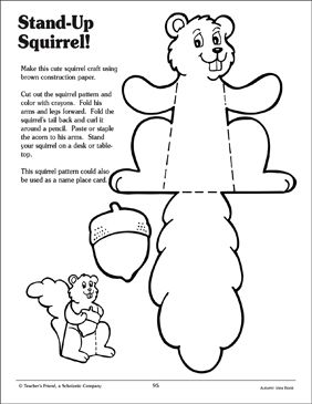 Stand Up Squirrel Craft Activity Printable Worksheet Animal Crafts For Kids Storytime Crafts Fall Crafts For Kids
