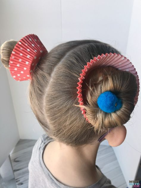Crazy Hair Day Ideas Girls Cupcake Buns These Cupcake Hair Buns Are Quick And Easy For Crazy Hair D Crazy Hair Day Girls Wacky Hair Days Easy Crazy Hairstyles