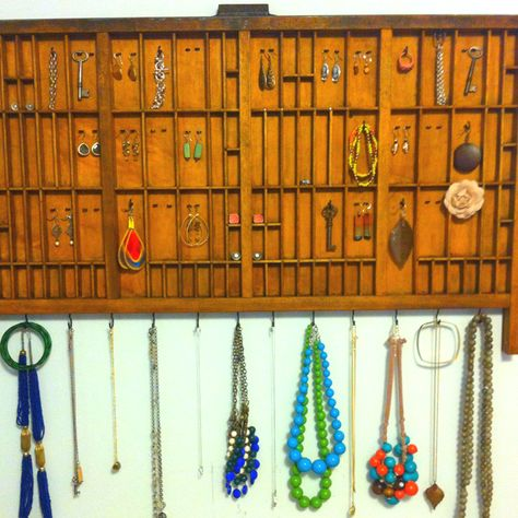 Jewelry display DIY from a printing drawer