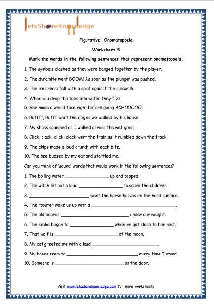 Grade 4 English Resources Printable Worksheets Topic Figurative Language Language Worksheets Figurative Language Worksheet Figurative Language Printable Context clues worksheets grade 4