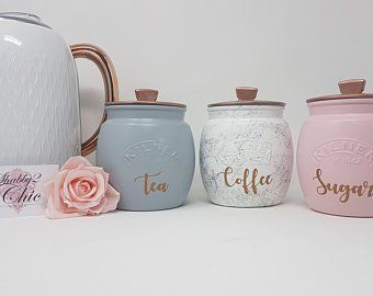Kitchen Canisters Set Of 3 Pink White Silver Grey Copper Etsy In 2020 Tea Coffee Sugar Canisters Kitchen Canisters Tea And Coffee Canisters