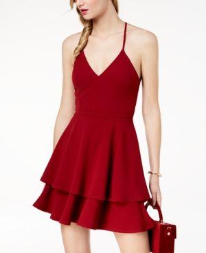 e35a2d2b76d B Darlin Juniors  Lace-Back Fit   Flare Dress - Red 9 10
