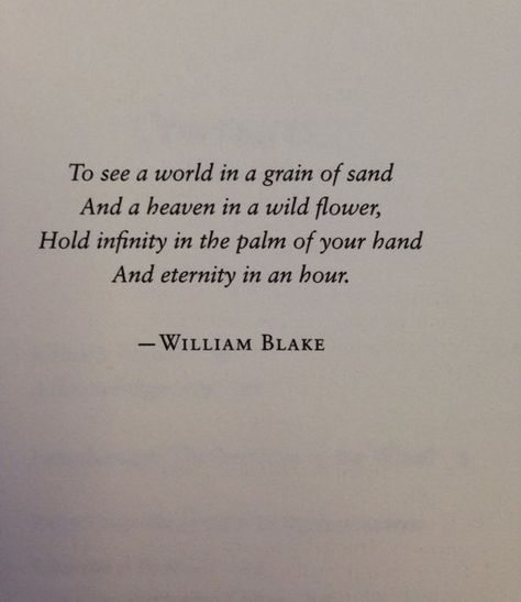 Hold infinity in the palm of your hand, and eternity in an hour