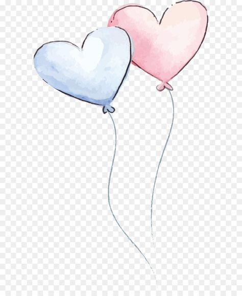 Watercolor painting - Romantic watercolor love balloon