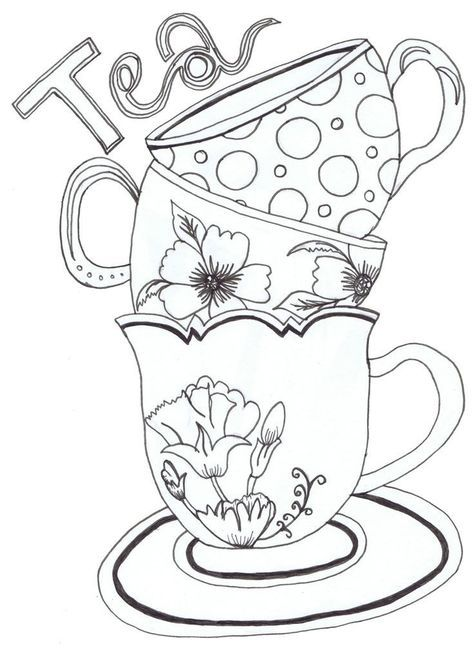 Teapot Print Coloring Pages For Kids And For Adults Printable Stencil Patterns Coloring Pages Stencils Printables