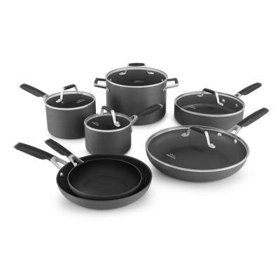 Calphalon Select 12 Piece Hard Anodized Aluminum Nonstick Cookware Set In Black 1961897 The Home Depot Cookware Set Nonstick Cookware Calphalon Cookware Calphalon 12 piece nonstick cookware set