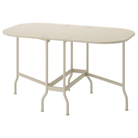 Tavoli Legno Da Giardino Ikea.Saltholmen Tavolo A Ribalta Da Esterno Beige 24x77x130x74 Cm