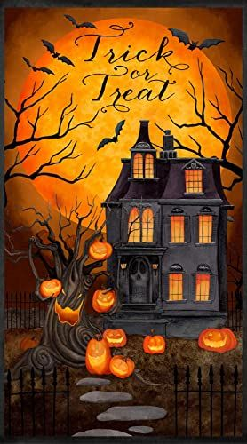 Tera 2020 Halloween Pumpkin Spooky House, Halloween, 24 inch Panel, Trick or Treat, Pumpkins
