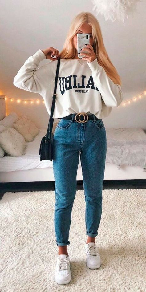 Adrette Outfits, Trendy Fall Outfits, Casual School Outfits, Cute Comfy Outfits, Casual Winter Outfits, Winter Fashion Outfits, Retro Outfits, Simple Outfits, Look Fashion