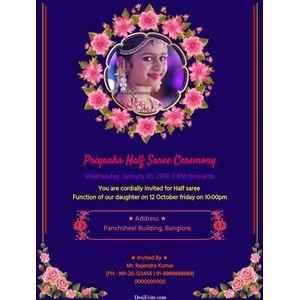 20 Format Of Half Saree Function Invitation Cards In English And Review Half Saree Function Invitation Cards Invitations