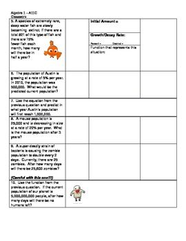 Free Exponential Growth And Decay Student Worksheet A11c Exponential Exponential Growth Growth And Decay