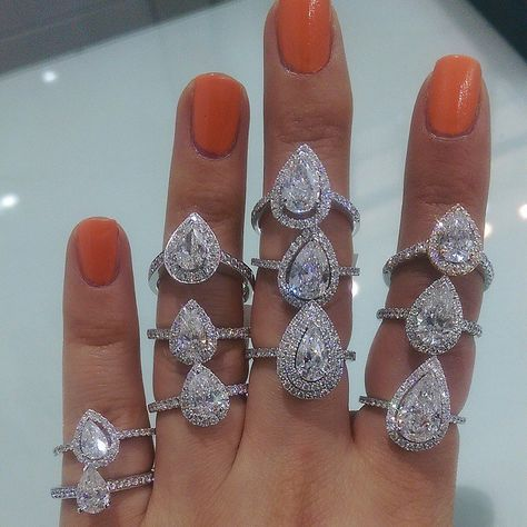 Pear shaped diamond engagement rings by Parade Jewellers in Sydney, Australia
