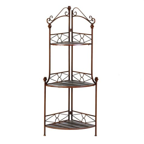 Amazon Com Rustic Corner Kitchen Bakers Rack Plant Stand Display