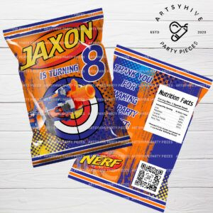 Nerf Nation is a recent hit on our shop. These will customized chipbag label will make any boy's party a BLAST! #nerf #nerfnation #nerfgun #nerfblaster #nerfparty #partyfavors #customfavors #personalizedfavors #partydecoration #nerfbirthdayparty #chipbags #chipbagwrapper #partyideas #diyparty #nerfpartyfavors #kidspartyideas #partystuff #partyinspiration #partytheme #nerfpartyideas #quarantineparty #artsyhivepartypieces #artsyhivedesigns #artsyhive