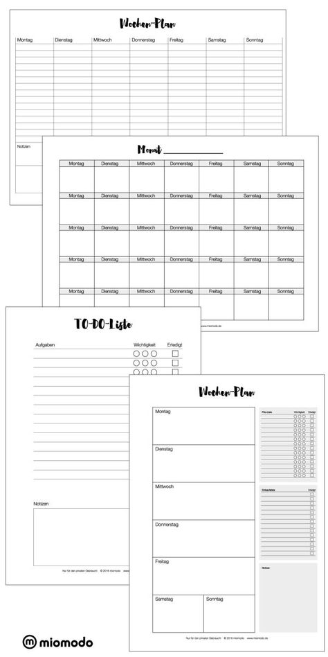 Weekly and monthly planner to print - ordnung - Diy Creative ideas