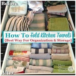 How To Declutter Kitchen Towels Dish Cloths Dish Towel Storage
