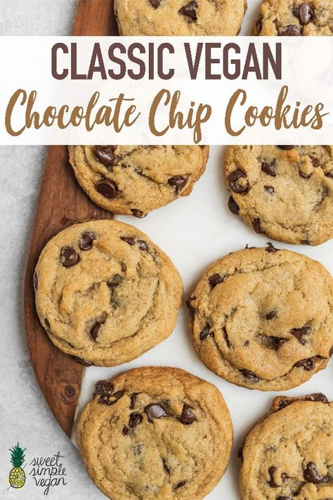 Learn how to make the best chocolate chip cookies that just so happen to be vegan. They're perfectly chocolatey, soft & chewy, easy to make and don't require any funky ingredients. #vegan #chocolatechip #cookies #classic #eggfree #dairyfree #easy #musttry #pillsburydupe #copycat #dessert #sweetsimplevegan #kids