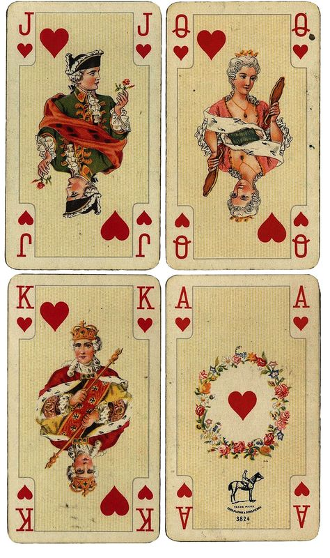 Wings of Whimsy: Antique French Playing Cards - Hearts - free for personal use #ephemera #printable #vintage