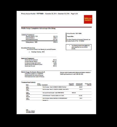 Bank Statement Wells Fargo Template Fake Custom Printable