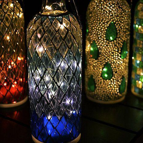 Wine Bottle Mosaic Lanterns Set Of 4 Wine Enthusiast Lantern