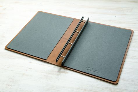 A4 Screw Post Leather Portfolio Binder Open H\Co folder - resume holder