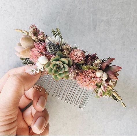 Trockenblumen Haarkamm Marisa   20cm x 11,5cm - Erna Konfetti