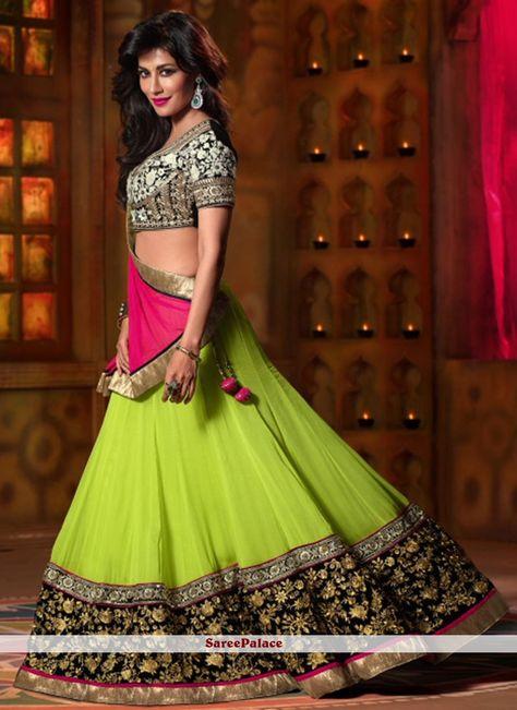 Chitrangada Singh Style Green Georgette Lehenga Choli