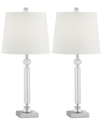 Kathy Ireland Pacific Coast Set Of 2 Crystal And Chrome Table Lamps Reviews All Lighting Home Decor Macy S Chrome Table Lamp Crystal Lamp Bedroom Table Lamp
