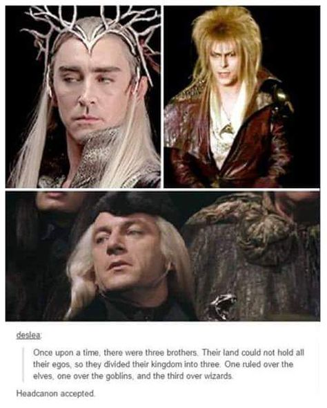 Thranduil from LOTR, Jareth from Labyrinth and Lucius Malfoy from Harry Potter. Lotr, Hunger Games, O Hobbit, J. R. R. Tolkien, Fandom Crossover, Harry Potter Crossover, Goblin King, Fandoms Unite, Thranduil