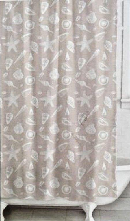 Nautical Fabric Shower Curtain And 12 Shell Curtain Hooks Beach