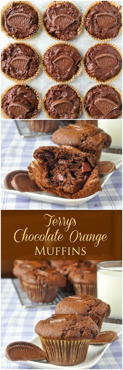 Terry's Chocolate Orange Muffins – this Holiday season, here's the ultimate breakfast treat for lovers of the famous British confection, with chunks of #TerrysChocolateOrange baked right inside. #Brunch #Christmasbaking #Christmas
