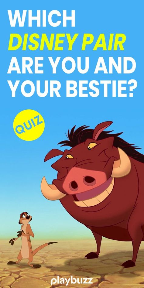 Which Disney Pair Are You And Your Bestie? - Are you two more of an Aladdin + Abu? Or an Anna + Elsa? ********** Playbuzz Quiz Quizzes Buzzfeed Quiz Personality Quiz The Lion King Disney Quiz The Little Mermaid Frozen Moana