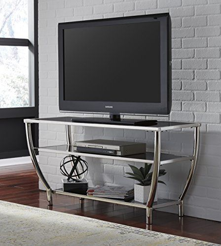 Metal Chrome Finish With Glass Top /& Shelves TV Stand Entertainment Center ~New~